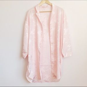 vintage long pastel pink jacquard blouse or duster